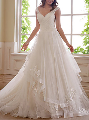 cheap Evening Dresses-A-Line Wedding Dresses V Neck Chapel Train Tulle Sleeveless Formal with Ruched Appliques 2020