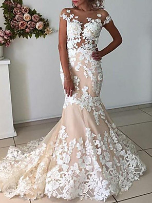 cheap Wedding Dresses-Mermaid / Trumpet Wedding Dresses Jewel Neck Sweep / Brush Train Lace Tulle Sleeveless Country with Appliques 2020