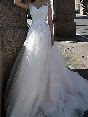 cheap Wedding Dresses-A-Line Wedding Dresses V Neck Sweep / Brush Train Lace Tulle Sleeveless Country with Appliques 2020