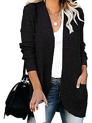 cheap Women's Blouses & Shirts-Women's Basic Pocket Cardigan Long Sleeve Sweater Cardigans Open Front Black Red khaki