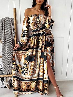 cheap Mini Dresses-Women's Swing Dress Maxi long Dress - Long Sleeve Print Split Print Summer Off Shoulder Sexy Party 2020 Blushing Pink Khaki Light Blue S M L XXL XXXL