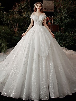 cheap Wedding Dresses-Ball Gown Wedding Dresses Off Shoulder Cathedral Train Tulle Short Sleeve Formal Sparkle & Shine with Embroidery Cascading Ruffles 2020