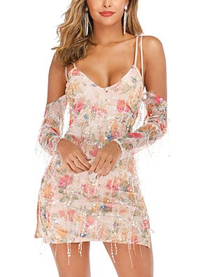 cheap Print Dresses-Women's A-Line Dress Short Mini Dress - Sleeveless Print Solid Color Sequins Embroidered Tassel Fringe Summer Sexy Party Daily 2020 Blushing Pink S M L XL