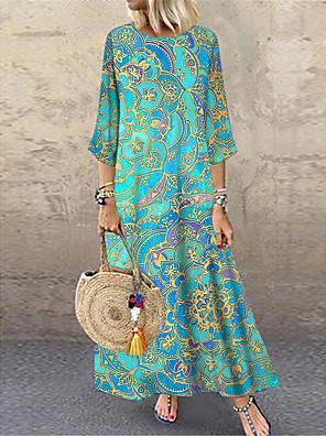 cheap Print Dresses-Women's Shift Dress Maxi long Dress - 3/4 Length Sleeve Tribal Print Summer Casual Daily Loose 2020 Blue M L XL XXL XXXL