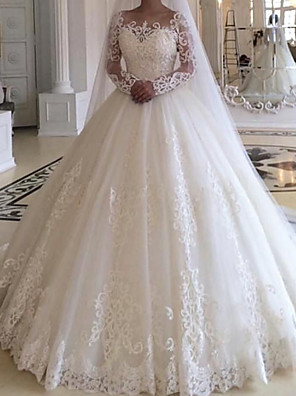 cheap Wedding Dresses-Ball Gown Wedding Dresses Jewel Neck Court Train Lace Tulle Long Sleeve Formal with Appliques 2020