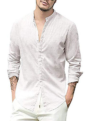 cheap Men's Tees-paslater mens button down linen shirts long sleeve loose summer beach casual shirt banded collar tops