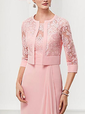 cheap Mother of the Bride Dresses-Two Piece Sheath / Column Mother of the Bride Dress Elegant Illusion Neck Knee Length Chiffon Lace 3/4 Length Sleeve with Draping 2020