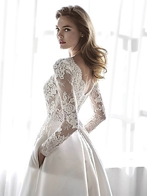 cheap Wedding Dresses-A-Line Wedding Dresses Jewel Neck Chapel Train Lace Chiffon Over Satin Long Sleeve Formal Elegant with Lace Appliques 2020