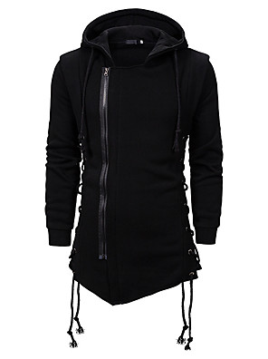 povoljno Muške košulje-Muškarci Dnevno Hoodie Jednobojni S kapuljačom Osnovni Hoodies majica Crn Tamno siva