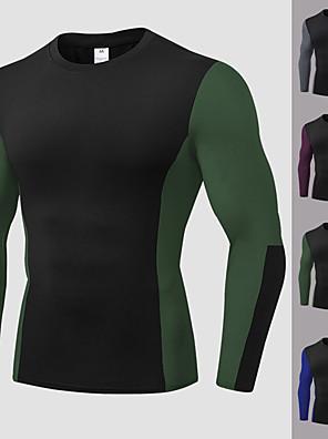 billige Sportsstøtter-YUERLIAN Herre Lapper Kompresjonskjorte T-skjorte til jogging Atletisk Langermet Spandex Pustende Fort Tørring Myk Trening Treningsøkt Oppvisning Løp Sports T-skjorte Topper Svart / Rød Svart / Grønn