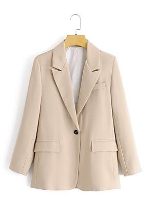 billige Blazere-Dame Peak Lapel Blazer Ensfarvet Kakifarvet S / M / L
