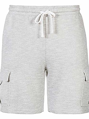 cheap Men's Pants & Shorts-but& #39;s classic fit elastic drawstring fleece workout jogger stretch sweat cargo shorts heather gray s