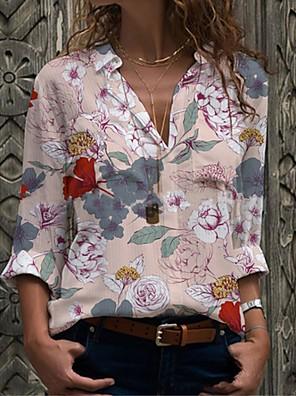 cheap Women's Blouses & Shirts-Women's Shirt Floral Long Sleeve Print Shirt Collar Tops Loose Basic Basic Top Blue Purple Yellow