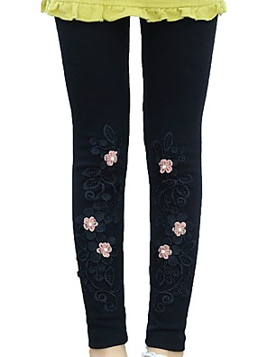 billige Bukser og leggings til piger-Børn Pige Basale Sort Blomstret Ensfarvet Trykt mønster Leggings Sort
