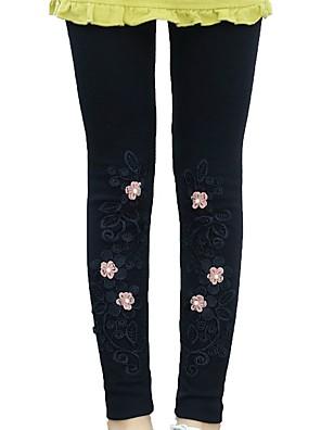 baratos Calças & Leggings para Meninas-Infantil Para Meninas Básico Preto Floral Sólido Estampado Leggings Preto