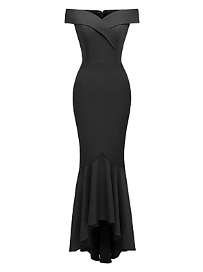 cheap Special Occasion Dresses-Mermaid / Trumpet Elegant Minimalist Party Wear Formal Evening Dress Off Shoulder Short Sleeve Floor Length Satin with Pleats 2020