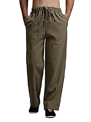 cheap Men's Pants & Shorts-Men's Daily Wear Pants Solid Color Vintage Green Brown Gray L XL XXL