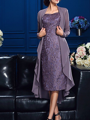 cheap Mother of the Bride Dresses-Two Piece Sheath / Column Mother of the Bride Dress Elegant Jewel Neck Knee Length Chiffon Lace Long Sleeve with Appliques 2020