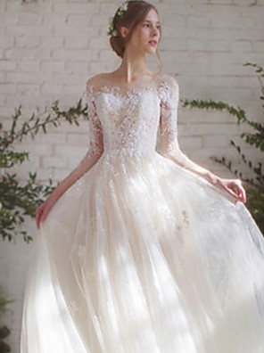 cheap Wedding Dresses-Ball Gown Wedding Dresses Off Shoulder Floor Length Lace Tulle 3/4 Length Sleeve Romantic Elegant with Lace Appliques 2020