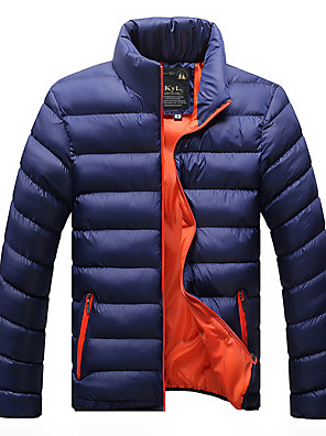 povoljno Muške košulje-Muškarci Padded Parka Jednobojni POLY Crn / Lila-roza / Dusty Blue M / L / XL
