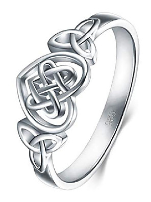 cheap Quartz Watches-925 sterling silver ring celtic knot heart high polish tarnish resistant eternity wedding band stackable ring size 10