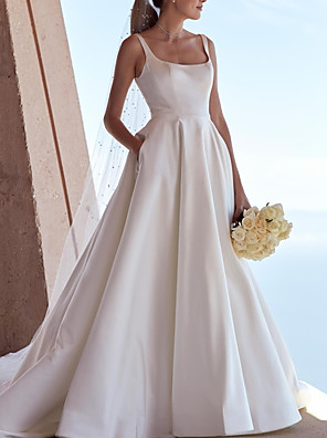 cheap Evening Dresses-A-Line Wedding Dresses Scoop Neck Sweep / Brush Train Satin Sleeveless Simple with 2020