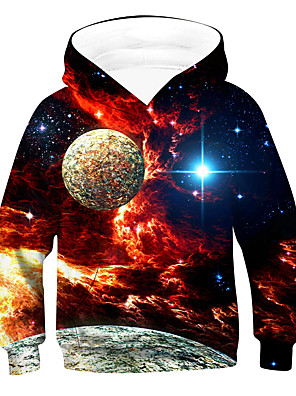 cheap Boys' Tops-Kids Boys' Active Basic Galaxy Long Sleeve Hoodie & Sweatshirt Red