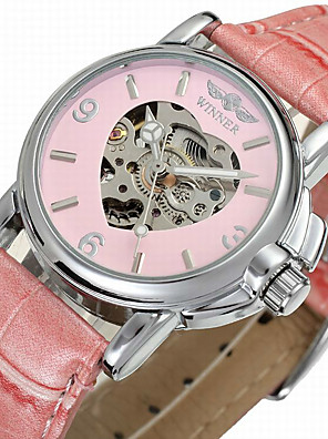 cheap Quartz Watches-WINNER Women's Dress Watch Skeleton Watch Wrist Watch Automatic self-winding Ladies Hollow Engraving Leather Black / Blue / Pink Analog - White Black Pink / Stainless Steel