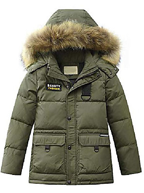 cheap Smart Watches-boys' hooded down coats winter warm jacket solid puffer coat style 1 army green 13-14 years