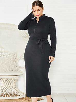 cheap Print Dresses-Women's Sheath Dress Midi Dress - Long Sleeve Solid Color Zipper Fall Sexy 2020 Wine Black Blue XL XXL XXXL XXXXL XXXXXL