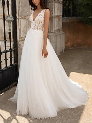 cheap Wedding Dresses-A-Line Wedding Dresses V Neck Sweep / Brush Train Lace Tulle Sleeveless Beach with Appliques 2020