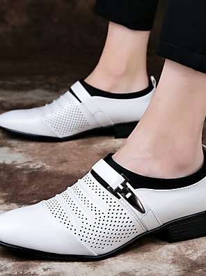 cheap Evening Dresses-Men's Summer / Fall Business / Vintage / British Office & Career Loafers & Slip-Ons Nappa Leather Breathable Wear Proof White / Black