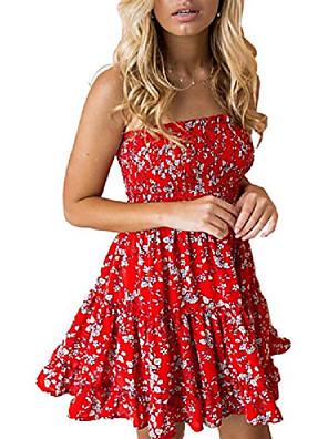 Χαμηλού Κόστους Μίνι Φορέματα-γυναικείο λουλουδάτο στράπλες πλισέ φούτερ με μίνι σωλήνα φόρεμα κόκκινο λευκό
