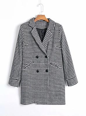cheap Women's Pants-Women's Trench Coat Regular Color Block Daily Fall & Winter Black S / M / L
