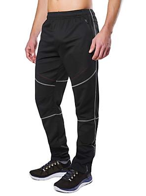 cheap Hiking Trousers & Shorts-Men's Cycling Pants Winter Fleece Polyester Bike Pants / Trousers Bottoms Thermal / Warm Windproof Breathable Sports Black / Black+Gray Mountain Bike MTB Road Bike Cycling Clothing Apparel Bike Wear