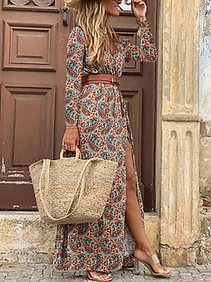 cheap Mini Dresses-Women's Swing Dress Maxi long Dress - 3/4 Length Sleeve Floral Split Print Spring Fall V Neck Sexy Daily 2020 Blue Brown M L XL XXL 3XL