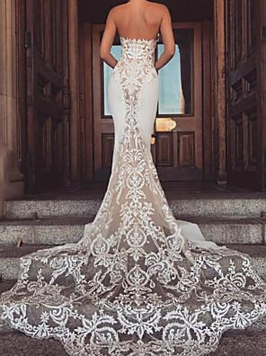 cheap Wedding Dresses-Mermaid / Trumpet Wedding Dresses Sweetheart Neckline Chapel Train Lace Satin Sleeveless Vintage with Appliques 2020