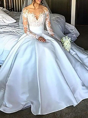 cheap Wedding Dresses-Ball Gown Wedding Dresses Off Shoulder Court Train Lace Satin Long Sleeve Formal with Bow(s) Ruched 2020