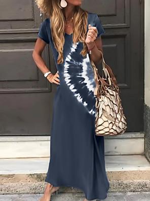 cheap Women's T-shirts-Women's A-Line Dress Maxi long Dress - Short Sleeve Tie Dye Print Summer V Neck Classic & Timeless Holiday Vacation Loose 2020 Green Dark Gray Brown Navy Blue S M L XL XXL XXXL