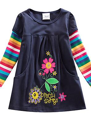 cheap Girls' Dresses-Kids Girls' Flower Active Blue Striped Rainbow Embroidered Long Sleeve Knee-length Dress Navy Blue
