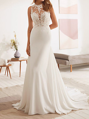 cheap Wedding Dresses-Mermaid / Trumpet Wedding Dresses Jewel Neck Court Train Lace Stretch Satin Sleeveless Country with Appliques 2020