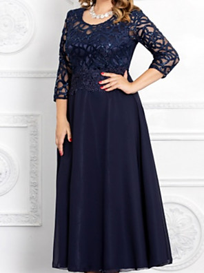cheap Prom Dresses-A-Line Mother of the Bride Dress Elegant Jewel Neck Ankle Length Chiffon Lace 3/4 Length Sleeve with Pleats Appliques 2020