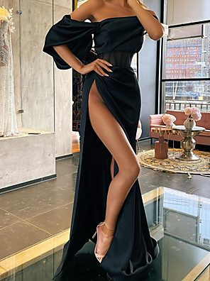 cheap Cocktail Dresses-A-Line Elegant Sexy Wedding Guest Formal Evening Dress Off Shoulder Short Sleeve Court Train Stretch Satin with Split 2020