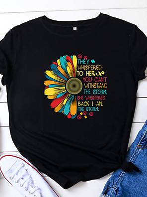cheap Women's T-shirts-Women's T-shirt Letter Sunflower Print Round Neck Tops 100% Cotton Basic Basic Top White Black Yellow
