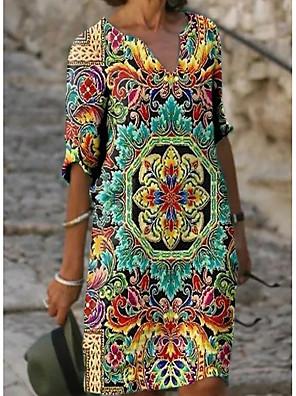 cheap Women's Blouses & Shirts-Women's Shift Dress Knee Length Dress - Half Sleeve Floral Print Summer V Neck Casual Daily Loose 2020 Green M L XL XXL XXXL