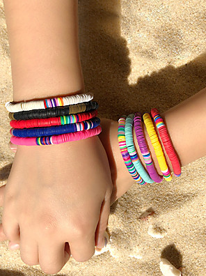 cheap Quartz Watches-10pcs Women's Friendship Bracelet Bracelet Layered Fashion Stylish Simple Ethnic Cute Boho Silicone Bracelet Jewelry Rainbow For Gift Prom Date Beach Festival