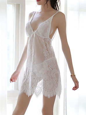 cheap Sexy Bodies-Women's Lace Backless Mesh Babydoll & Slips Suits Nightwear Jacquard Solid Colored White / Black S M L
