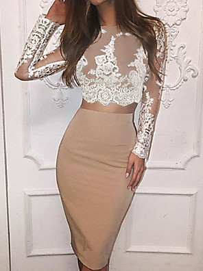 cheap Cocktail Dresses-Two Piece Color Block Holiday Cocktail Party Dress Jewel Neck Long Sleeve Knee Length Lace Polyester with Lace Insert 2020