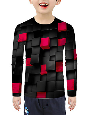 cheap Boys' Tops-Kids Boys' Active Basic Color Block 3D Print Long Sleeve Blouse Red