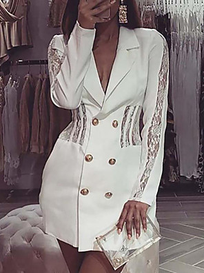 cheap Women's Dresses-Women's A-Line Dress Short Mini Dress - Long Sleeve Solid Color Lace Button Front Summer V Neck Casual Daily Slim 2020 White S M L XL